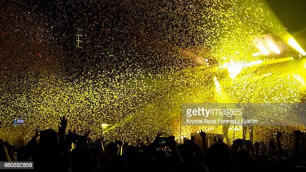 low angle view of confetti at concert - chicago musical stock pictures, royalty-free photos & images