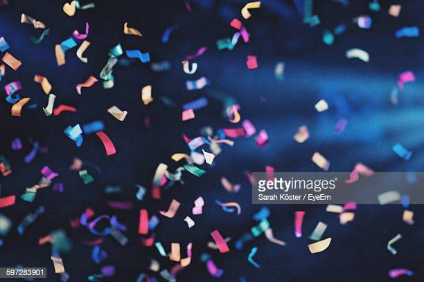 low angle view of confetti - feiern stock-fotos und bilder