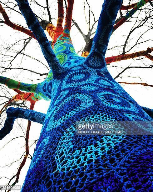 Low angle view of crochet tree