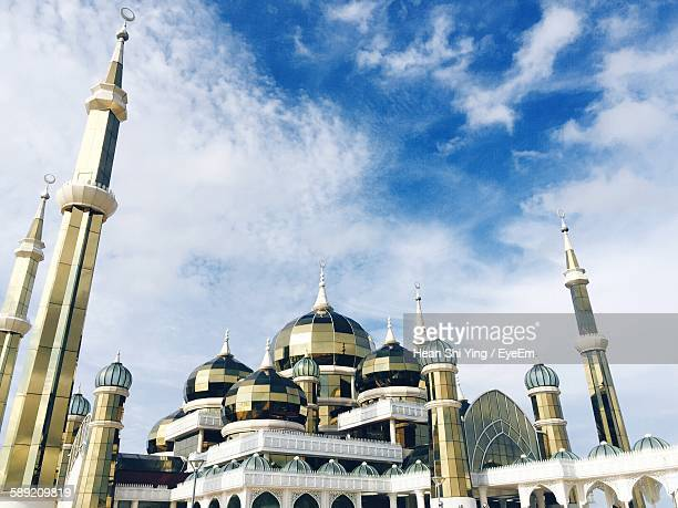 Low Angle View Of Crystal Mosque Against Sky