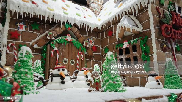 Low Angle View Of Decorated Gingerbread House During Christmas