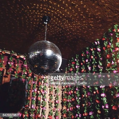 Disco Ball Decorations Prepossessing Low Angle View Of Disco Ball Hanging On Ceiling Against Design Ideas
