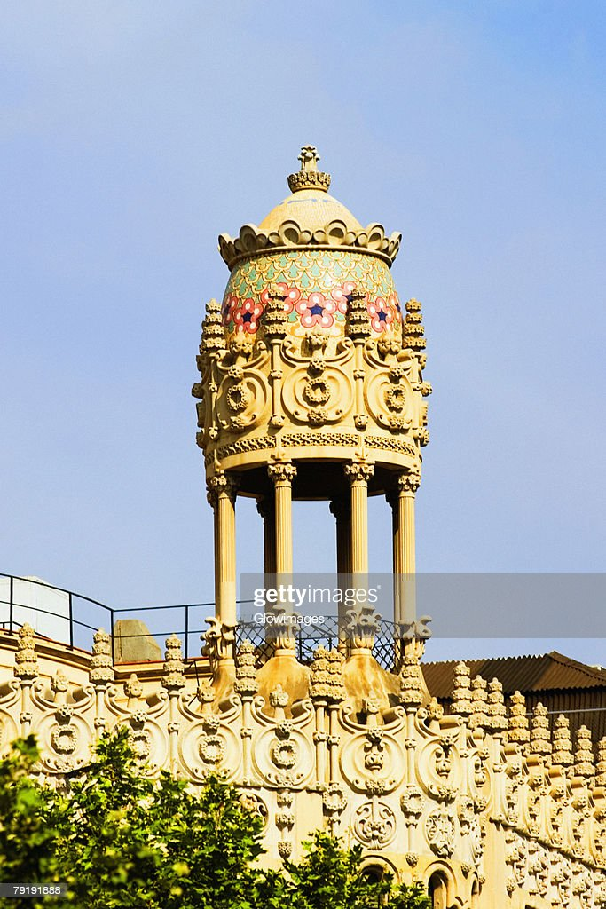 Low angle view of dome of a building, Barcelona, Spain : Stock Photo