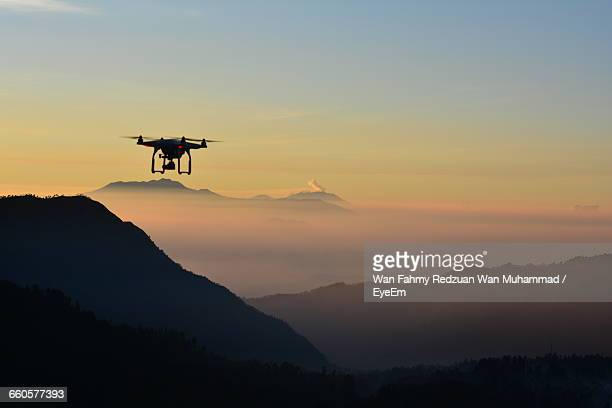 Low Angle View Of Drone At Dusk