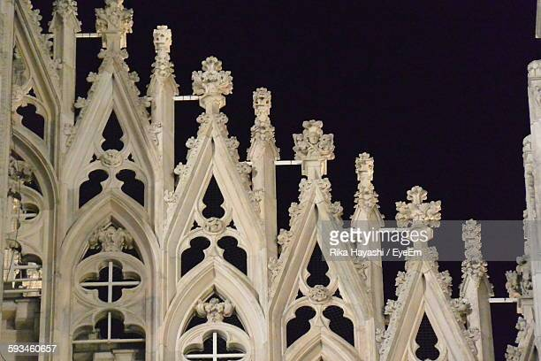 Low Angle View Of Duomo Di Milano Against Sky At Night