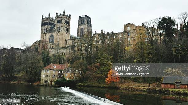 Low Angle View Of Durham Cathedral And River Against Clear Sky