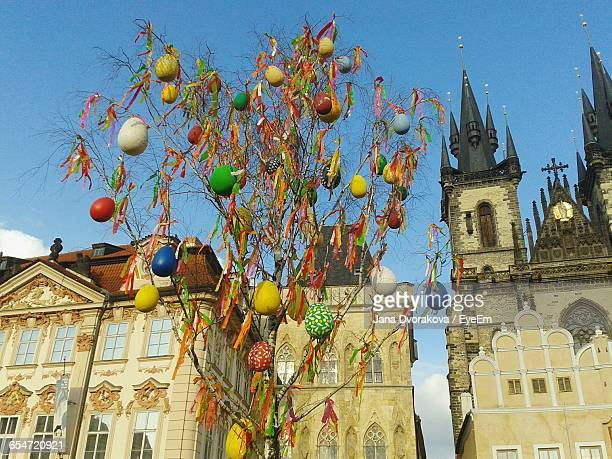 Low Angle View Of Easter Decoration At Prague Old Town Square