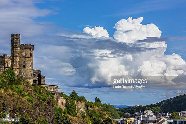 Low Angle View Of Edinburgh Castle Against Cloudy Sky