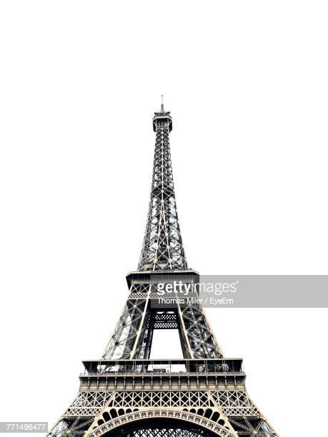 low angle view of eiffel tower against clear sky - clear sky stock pictures, royalty-free photos & images