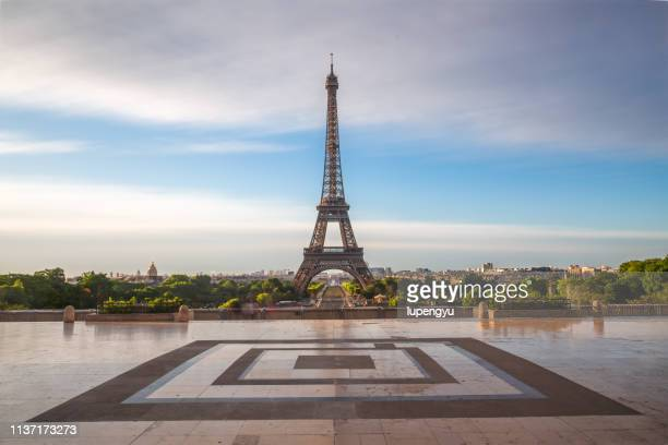 Low angle view of Eiffel tower at sunrise on Trocadero