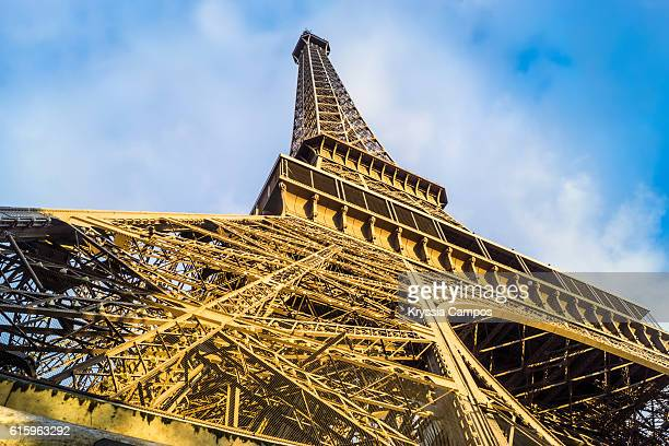 Low angle view of Eiffel Tower at sunshine, Paris - France
