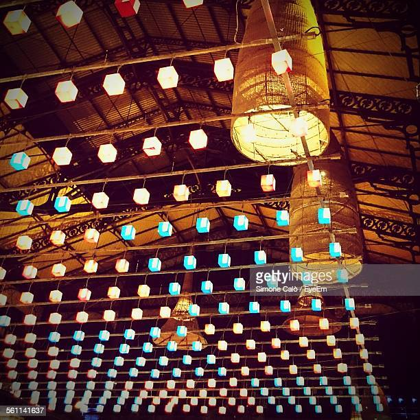Bamboo ceiling light stock photos and pictures getty images low angle view of electric lights hanging from bamboo sticks aloadofball Images