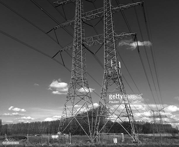 low angle view of electricity pylon - paulien tabak photos et images de collection
