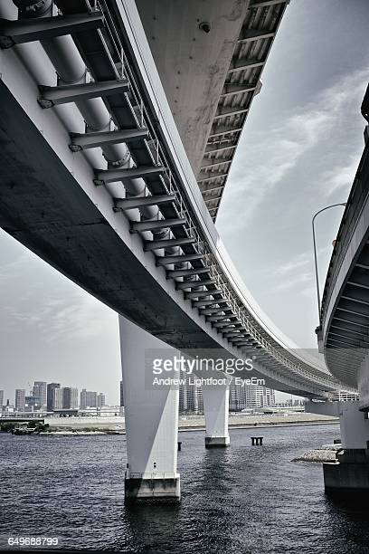 Low Angle View Of Elevated Road And Railway Bridge Over Tokyo Bay