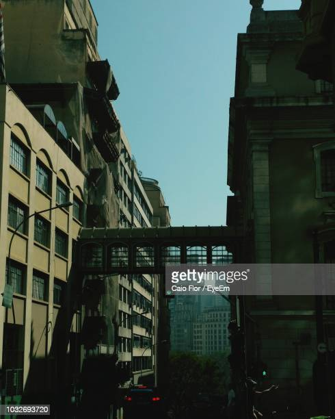 Low Angle View Of Elevated Walkway Against Clear Sky In City