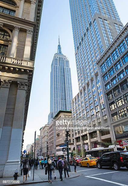 Low angle view of Empire State Building, New York City, New York, USA