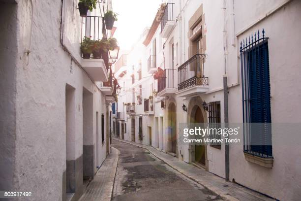 Low Angle View Of Empty Alley in Sitges, Barcelona.