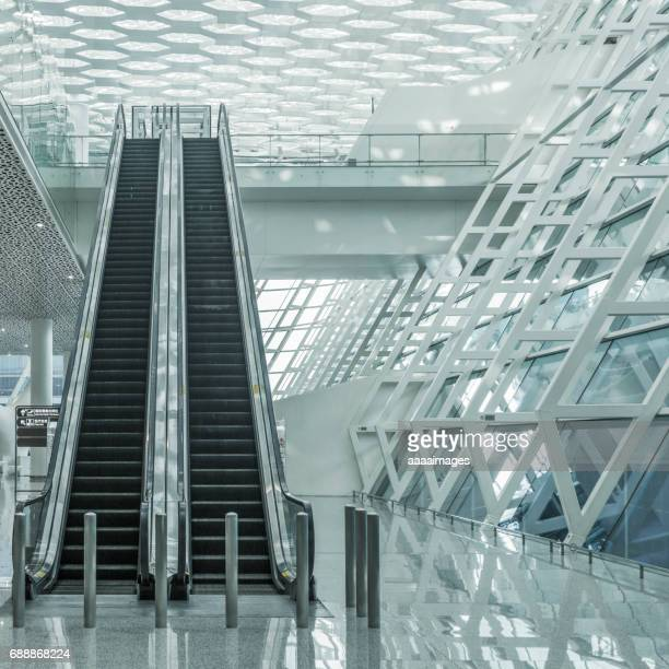 Low Angle View Of Empty Escalator At Airport