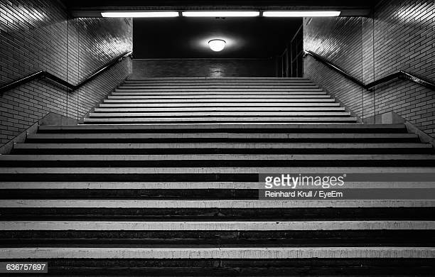 Low Angle View Of Empty Staircase At Underground Subway Station