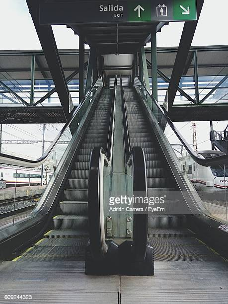Low Angle View Of Escalator At Railroad Station