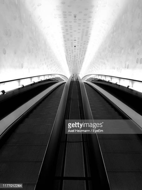 low angle view of escalator - elbphilharmonie stock pictures, royalty-free photos & images