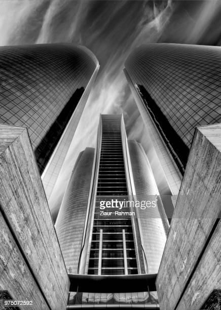 low angle view of etihad towers, abu dhabi, united arab emirates - abu dhabi stock pictures, royalty-free photos & images