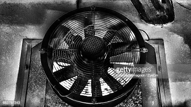 Low Angle View Of Exhaust Fan On Wall In Factory