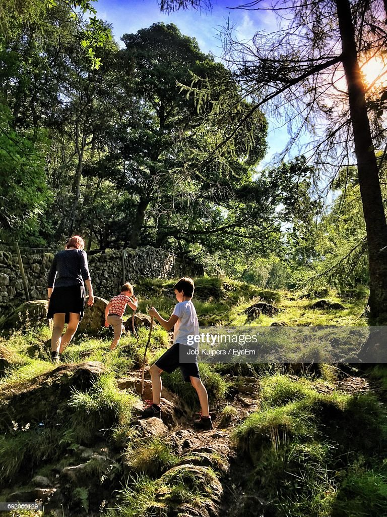 Low Angle View Of Family Hiking On Grassy Mountain During Sunny Day : Stock Photo