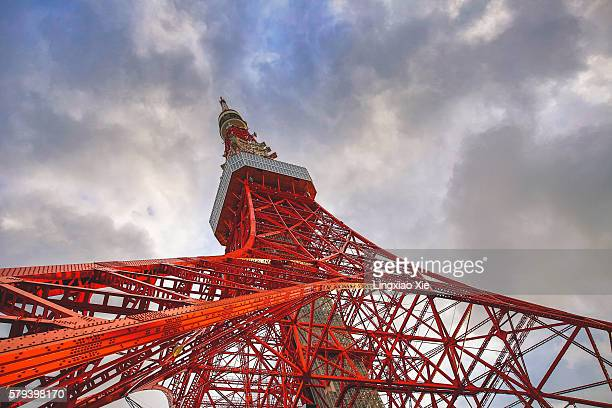 Low angle view of famous Tokyo Tower, close-up