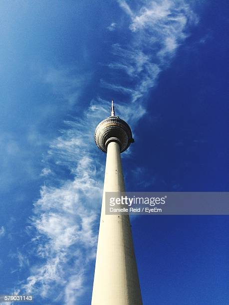 low angle view of fernsehturm against sky - danielle reid stock pictures, royalty-free photos & images
