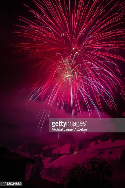 low angle view of firework display at night - michael jaeger stock pictures, royalty-free photos & images