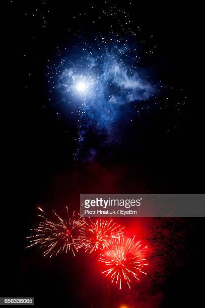 low angle view of firework display at night - piotr hnatiuk ストックフォトと画像