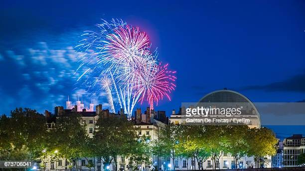 Low Angle View Of Firework Display During Bastille Day Celebration