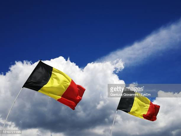low angle view of flag against blue sky - belgium stock pictures, royalty-free photos & images