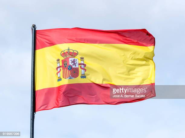 Low Angle View Of Flag Spain Against Sky. Spain