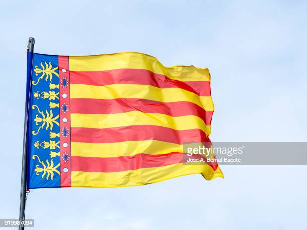 Low Angle View Of Flag Valencian Community Against Sky. Spain