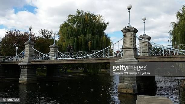 Low Angle View Of Footbridge Over River At Boston Public Garden