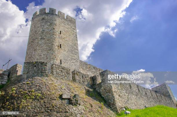 low angle view of fort against sky - belgrade serbia stock pictures, royalty-free photos & images