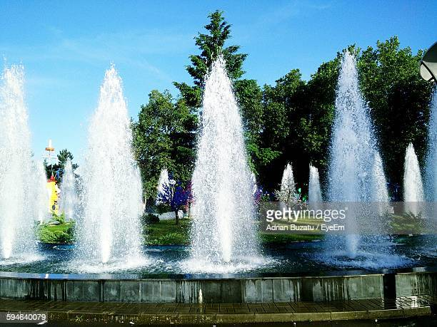 Low Angle View Of Fountain At Park