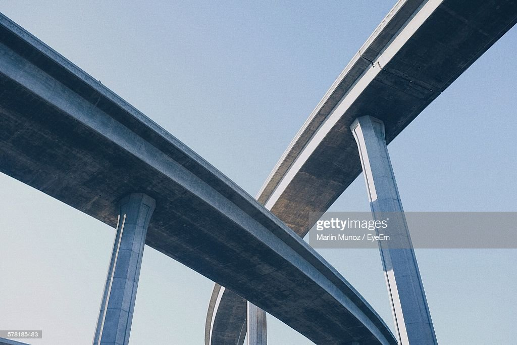 Low Angle View Of Freeway Against Clear Sky : Stock Photo