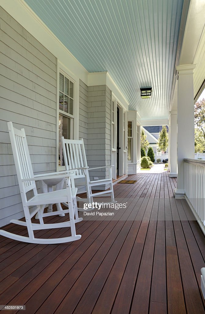 Low Angle View Of Front Porch And Decking Stock Photo