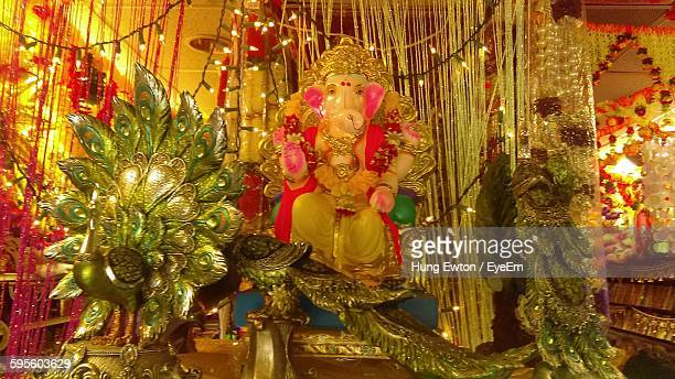 low angle view of ganesha statue - hindu god stock photos and pictures