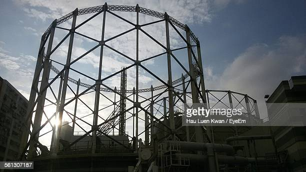 Low Angle View Of Gasometer Against Sky