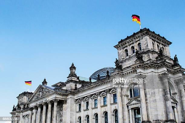 Low Angle View Of German Parliament Building Against Clear Blue Sky