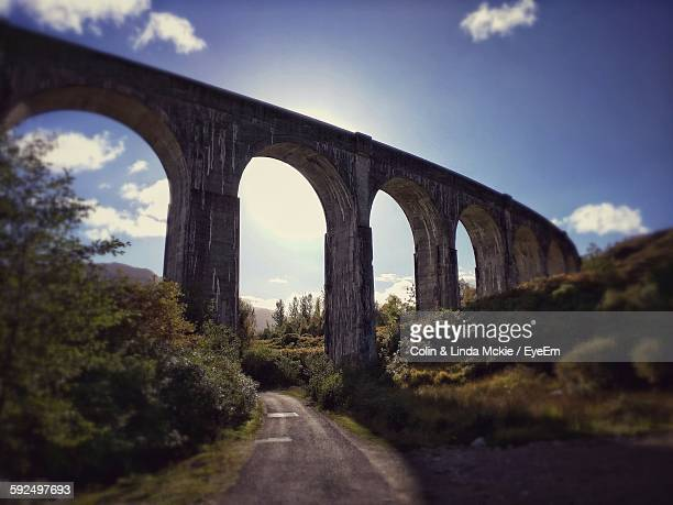 Low Angle View Of Glenfinnan Viaduct Against Sky