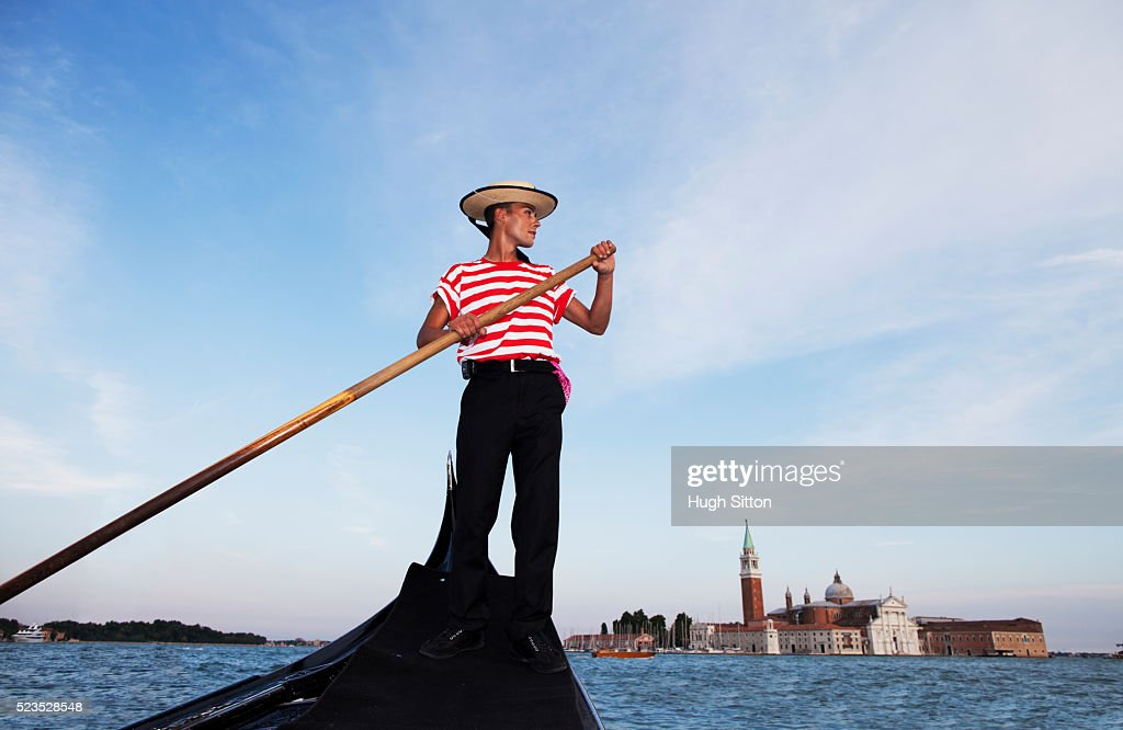Low angle view of gondolier : Stock Photo
