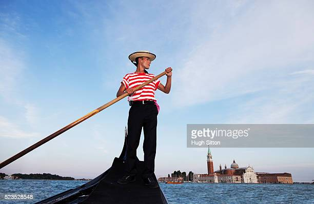 low angle view of gondolier - hugh sitton stock pictures, royalty-free photos & images