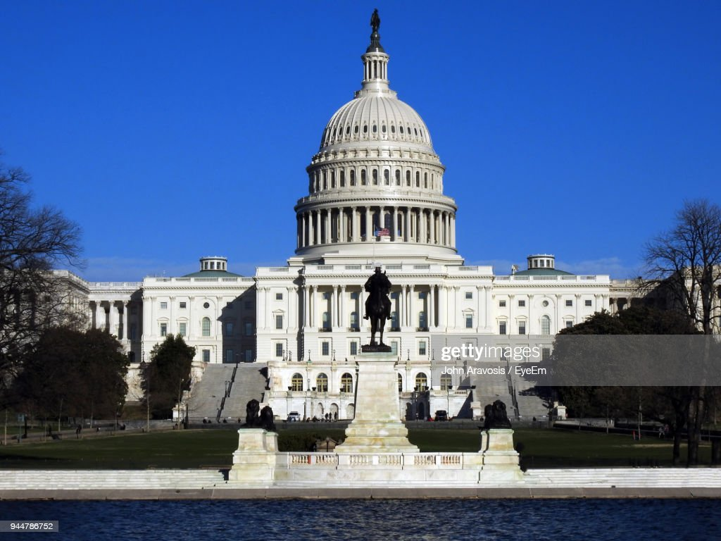 Low Angle View Of Government Building Against Clear Sky : Stock Photo