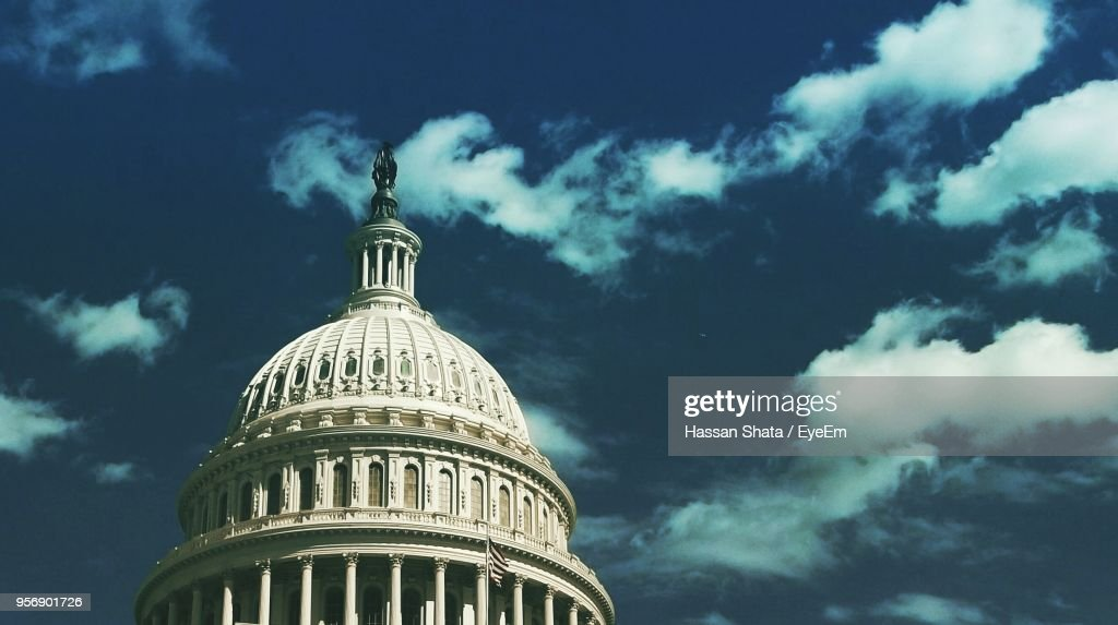 Low Angle View Of Government Building Against Sky : Stock Photo