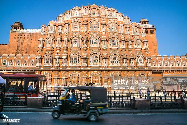 Low Angle View Of Hawa Mahal Against Clear Blue Sky